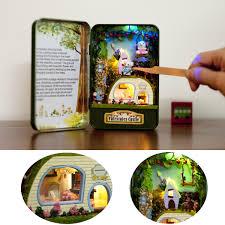 diy fairytale castle handwork assembly box theater led light mini