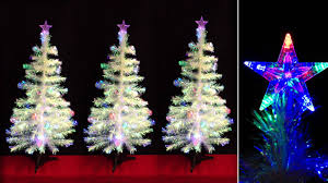 4ft fibre optic white tree with transparent baubles led