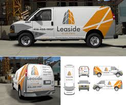 electric company truck elegant playful advertisement design for leaside electric by