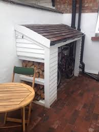 compact bike shed small garden yard the front opens up to a