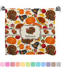 traditional thanksgiving print bath towel personalized
