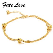 design 2 rows gold plated lovely bell anklet chain ankle