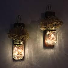 Fairy Light Wall by Mason Jar Wall Sconce