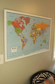Cork World Map by Diy Framed Map Corkboard Bulletin