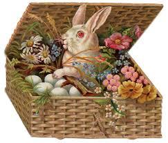 vintage easter baskets vintage easter clip of bunny in basket the graphics fairy