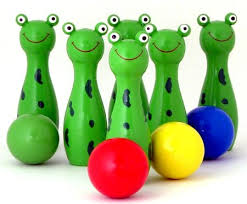 bowling frogs fun educational wooden childs toy at my wooden toys