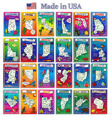 Map Of The 50 United States by Amazon Com U S State Map Postcard Set 50 Modern Post Card