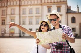 City Map Glasses Happy Tourist Sightseeing City With Map Stock Photo Picture And