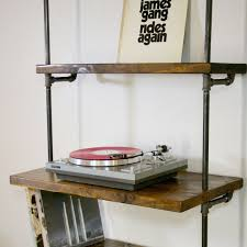 Industrial Shelving Units by Vinyl Record Storage Shelf With Turntable Stand Industrial