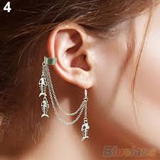 cuff earrings with chain 1pc silver tassels chain leaf fish cross charms metallic ear