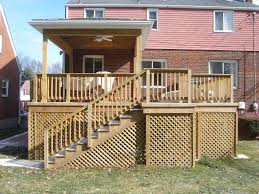 exterior stunning reachable designs of decks with lattice ideas