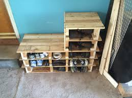 Patio Furniture Made Out Of Wooden Pallets by Garage Shoe Rack Bench Made Out Of 2 Wood Pallets Done