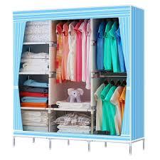 Clothes Cupboard Home Diy Double Triple Canvas Wardrobe Cupboard Portable Closet
