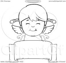 banner coloring pages cartoon clipart of a black and white smiling angel over a