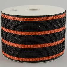 4 poly mesh ribbon metallic black orange stripe rs2029g5