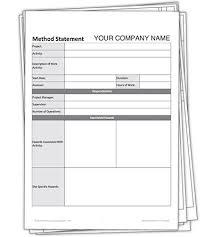 blank method statement template free darley pcm