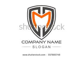 shield letter m abstract logo template stock vector 723496339