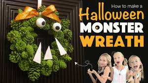 how to make a monster wreath pine cone craft diy halloween