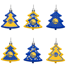 golden state warriors six pack shatterproof tree ornament set