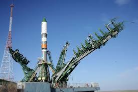 soyuz rocket arrives at baikonur launch pad for space station
