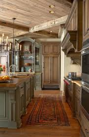 modern rustic kitchen design stone or tile to balance the wood out