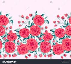 seamless border one stroke small rose stock vector 644026855
