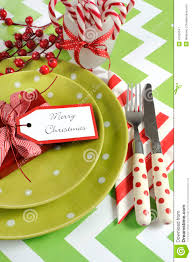 christmas children family party table place settings in lime green