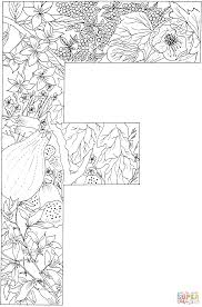 letter f with plants coloring page free printable coloring pages