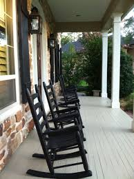 Patio Rocking Chairs Wood by Black Painted Oak Wood Outdoor Rocking Chairs Which Mixed With
