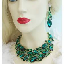 green necklace set images Statement necklace sets rhinestone crystal earrings set women jpg
