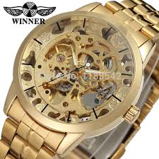gold bracelet mens watches images Winner men 39 s watch fashion business automatic analog dress jpg