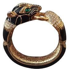 black bracelet with gold images Original retro black enamel vintage 80s rhinestones gold tone jpg