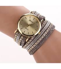 leather wrap bracelet watches images Pink leather wrap stud watch from category watches trendi png