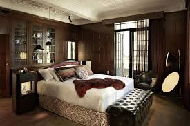 brown wall interior design theme pictures with white single bed on