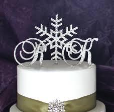 snowflake wedding cake topper monogram winter wonderland cake