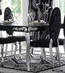 Silver Dining Chair Luxus Upholstered Black And Silver Leaf Oval Backed Dining Chair