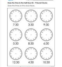 draw the time to the half hour telling time worksheets