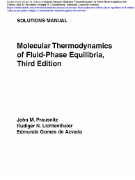 solutions manual molecular thermodynamics of fluid phase