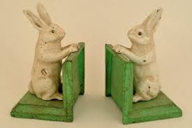 bunny bookends vintage style cast iron and metal bunny rabbit bookends
