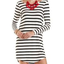 striped scoop neck jersey dress by from charlotte russe dresses