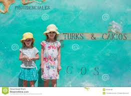 Map Of Caribbean Island by Little Girls Near Big Map Of Caribbean Island Stock Photo Image