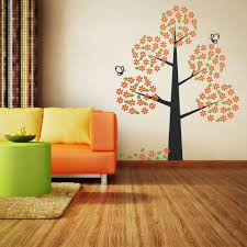 Tree Wall Decals For Living Room Orange Bloom Tree Wall Decal