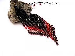 black earrings red gold earrings native earrings long earrings