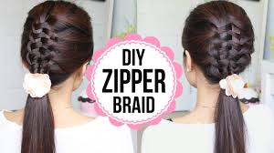 hair braiding styles step by step zipper braid hair tutorial 2 ways braided hairstyles youtube