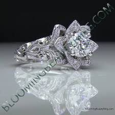 engagement rose rings images Diamond embossed blooming rose engagement ring with etched png