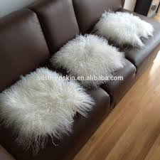 White Fur Cushions Long Hair Mongolian Fur Cushion Cover Sheepskin Square Cushion