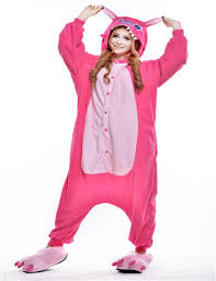 halloween pajamas womens cartoon cosplay animal pink stitch adults onesies unisex flannel