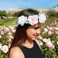 white flower headband white and blue flower headband july from gardenoftheangels