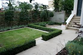 contemporary garden with formal planting design and resin bonded