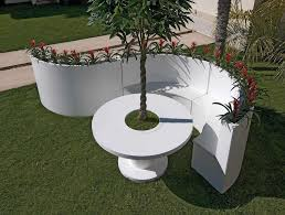 contemporary planter boxes with amazing white granite table and